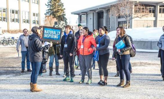 Prospective student tour group on the Fairbanks campus