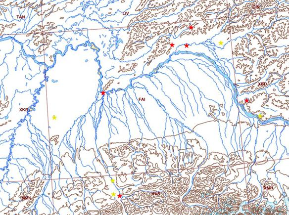 Map showing quadrangle with rivers, contours and field sites