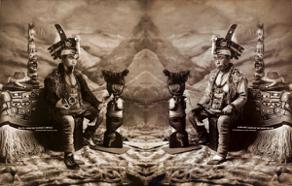 Photomanipulation juxtaposing and old image of tlingit shaman with a modern artist. Image by Da-Ka-Xeen Mehner