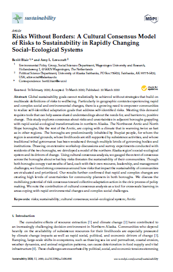 Title page of paper published in Sustainability journal.