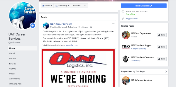 UAF Career Services Facebook screenshot
