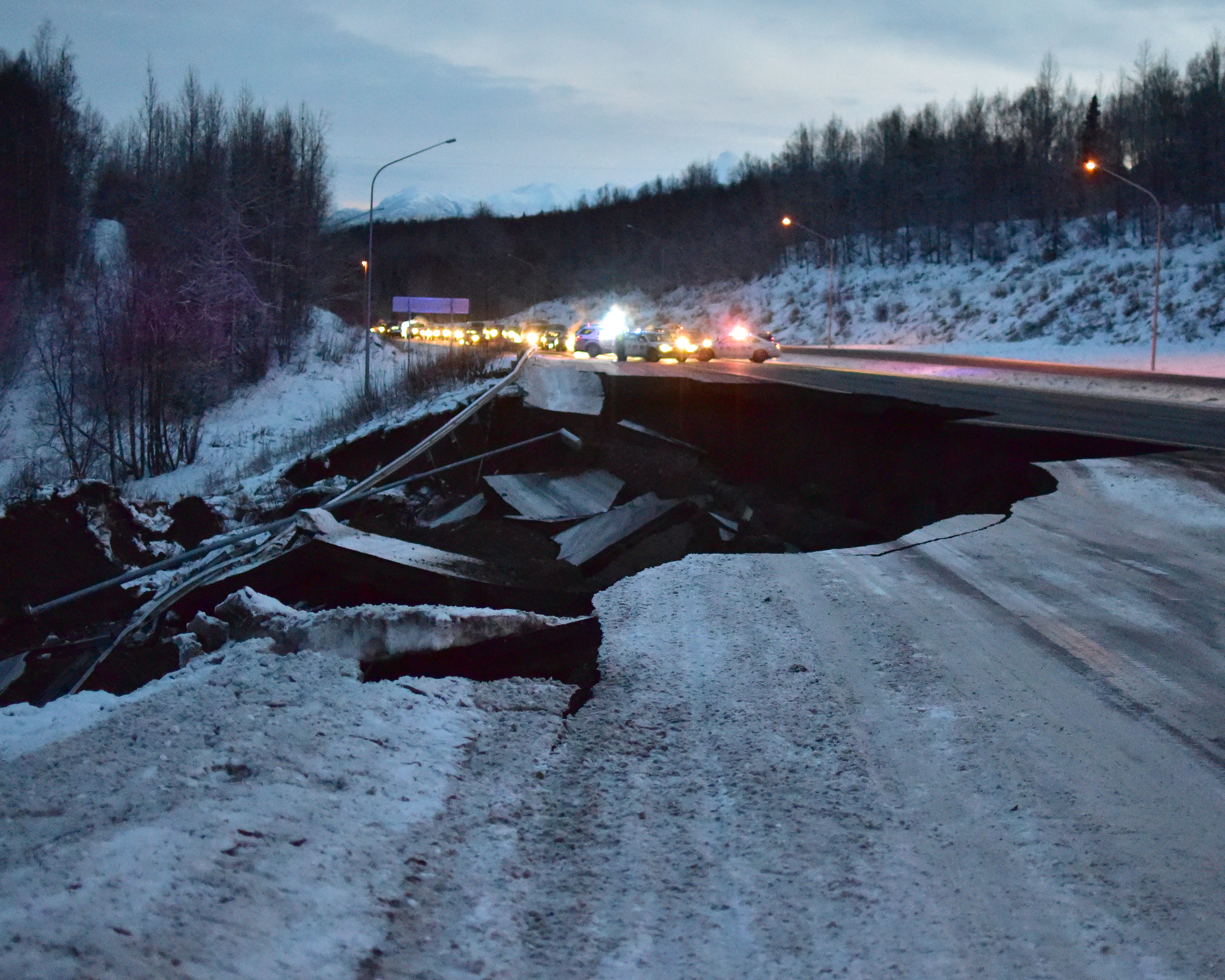 A stretch of the Glenn Highway north of Anchorage sustained severe damage during the Nov. 30 earthquake. iStock photo