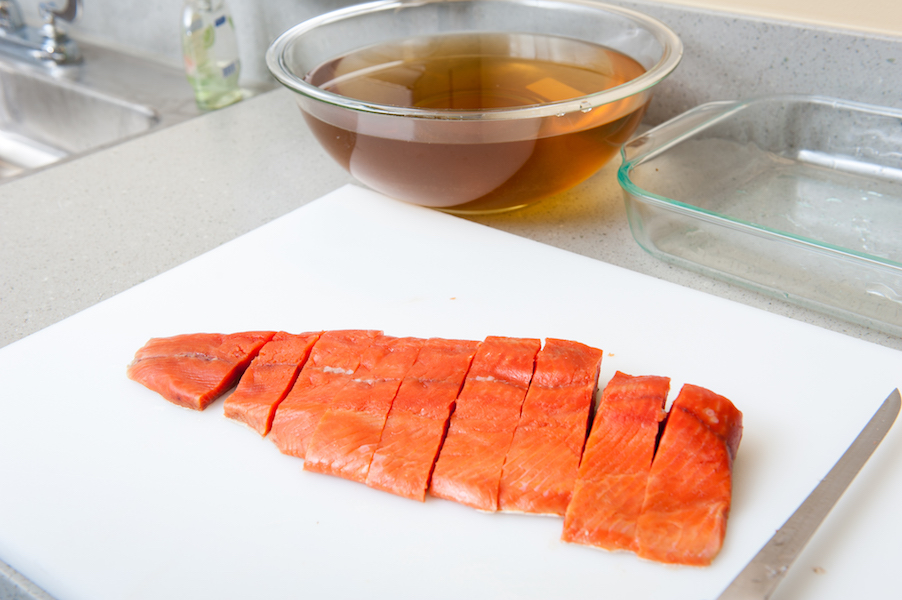 Preparing salmon for canning