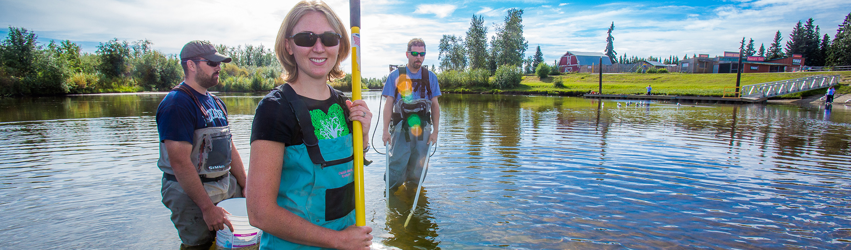 Undergraduate Patty McCall works with Fisheries Professor Trent Sutton, right, and master's candidate Nick Smith collecting live samples from the Chena River for their research on the life dynamics of Arctic brook lampreys.