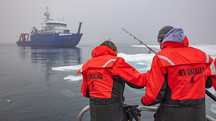 UAF researchers aboard the R/V Sikuliaq. Photo by Roger Topp
