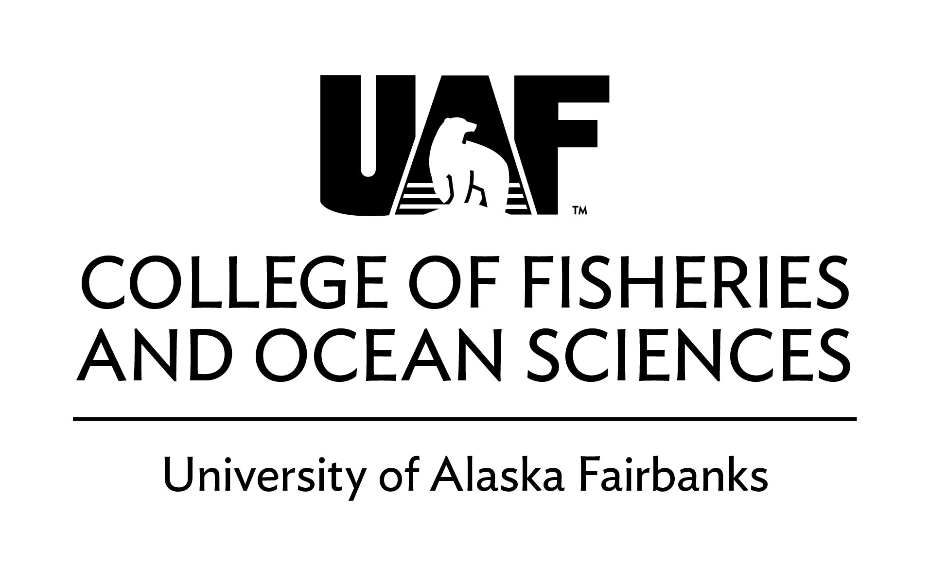 UAF College of Fisheries and Ocean Sciences - Black Horizontal logo