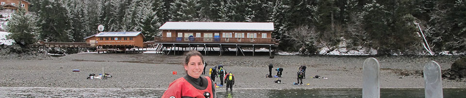 Researchers on shore near camp