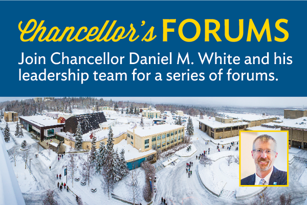 Chancellor's Forums graphic with background photo of snowy Constitution Park and inset portrait of Chancellor White
