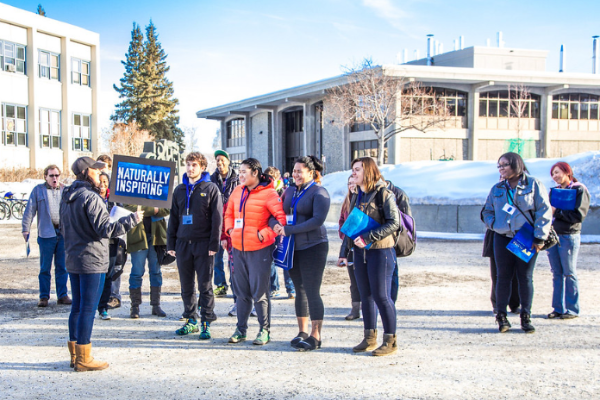 Prospective students tour the Fairbanks campus on preview day