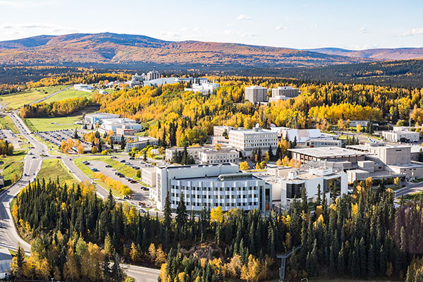 aerial view of UAF's main campus in Fairbanks, Alaska in autumn