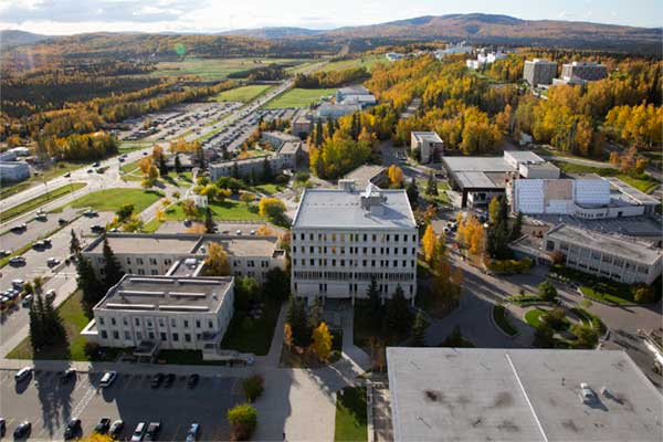 Aerial view of Signers Hall and Gruening Building on UAF campus