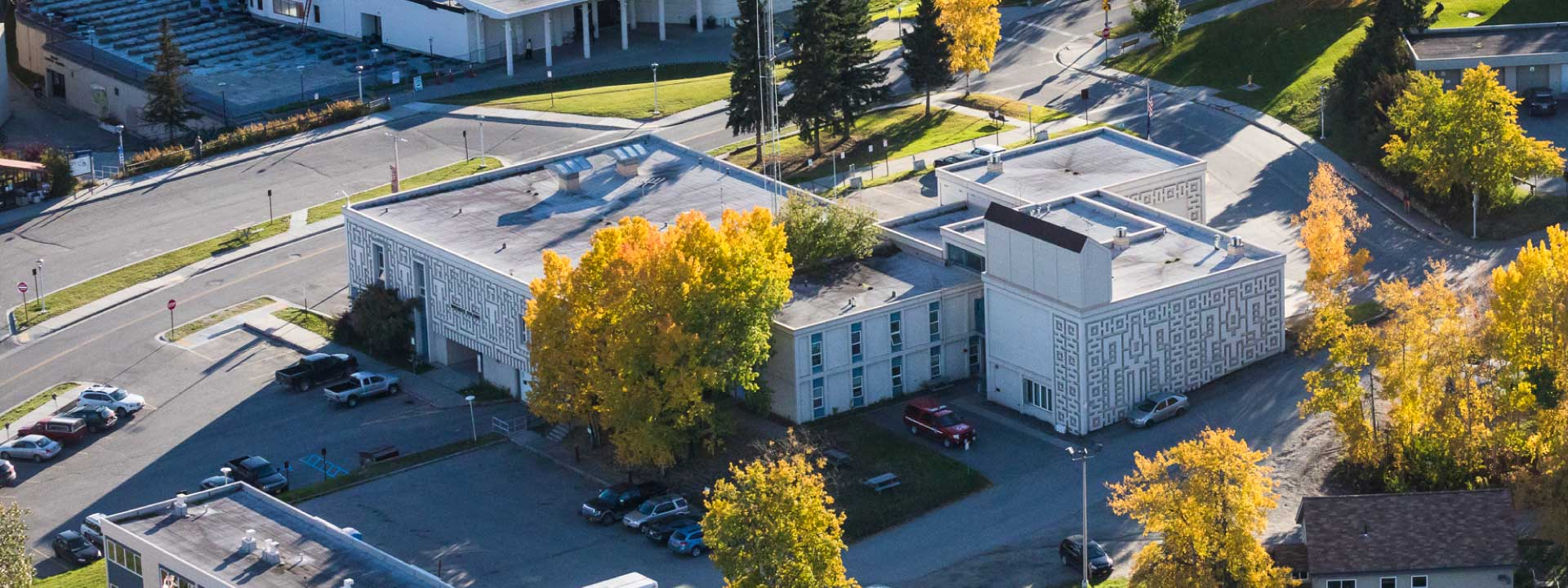 Autumn aerial view of the Whitaker Building where the Student Health and Counseling Center is located.