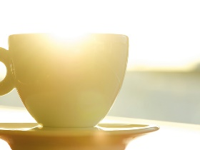 Coffee cup in sun