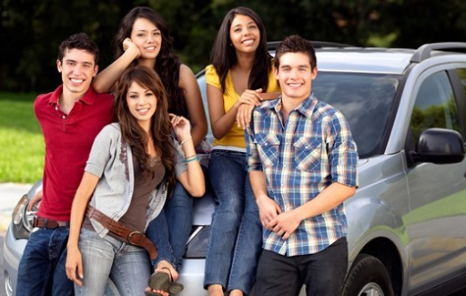 Students around a car
