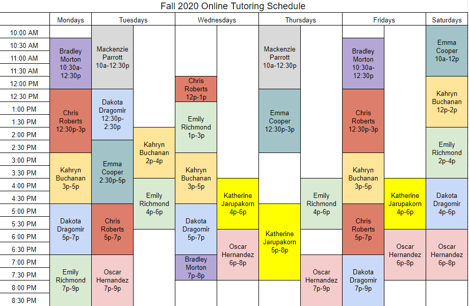Fall 2020 Online Schedule