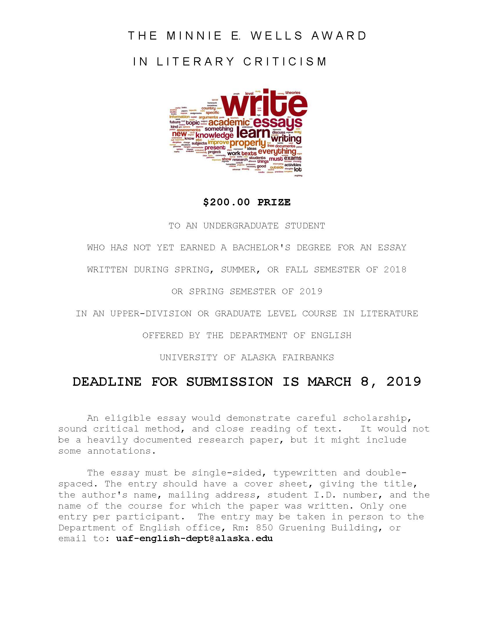 Student Writing Contests | Department of English