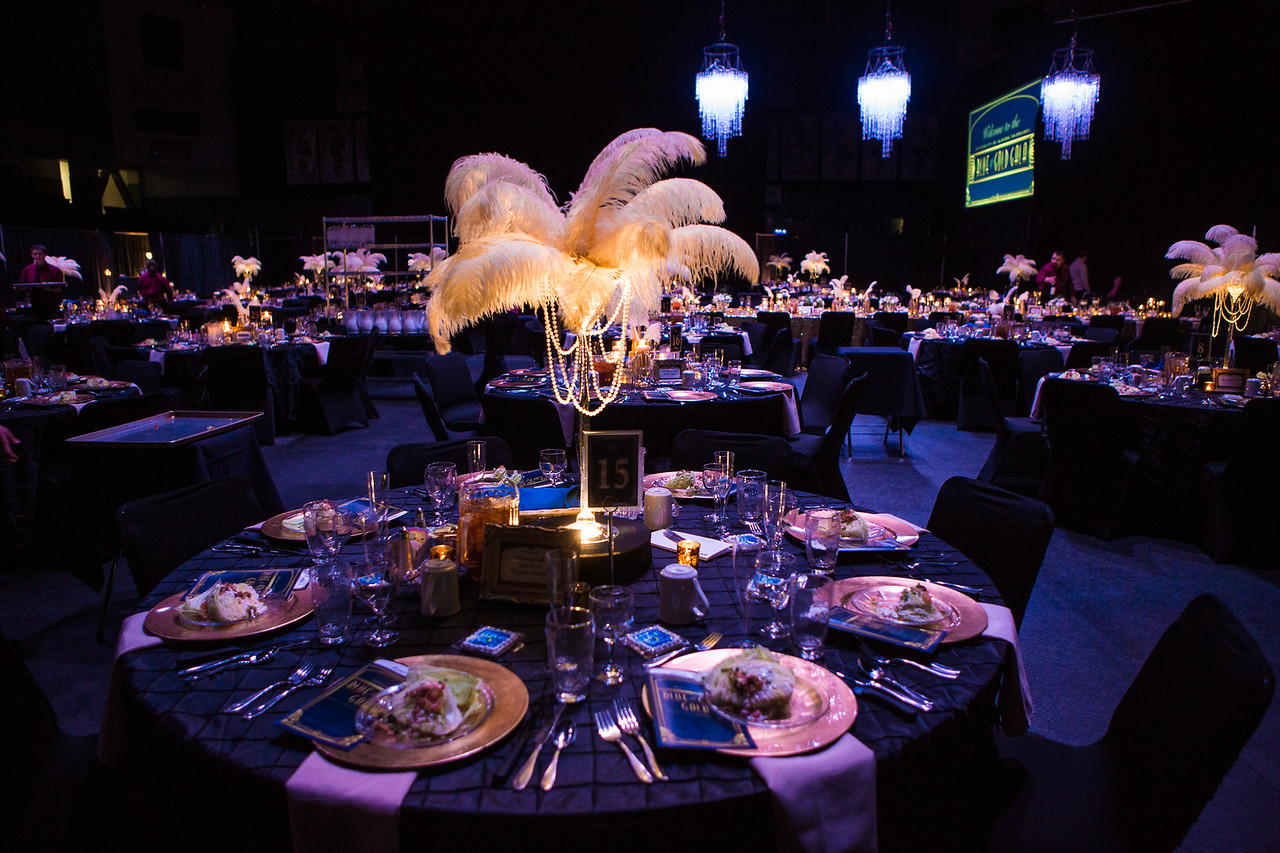 Table settings for the annual Blue and Gold Celebration