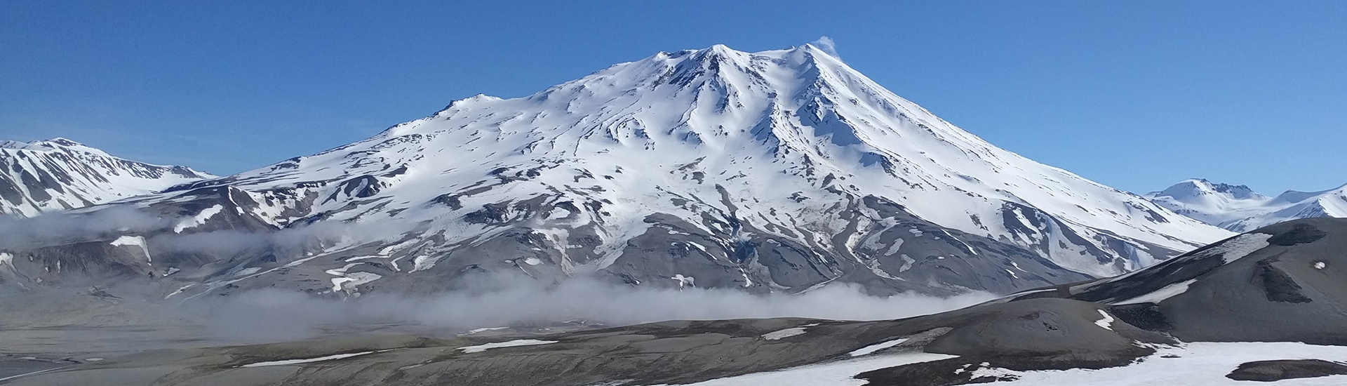 The view of Griggs Volcano from Baked Mountain huts, our basecamp at Katmai