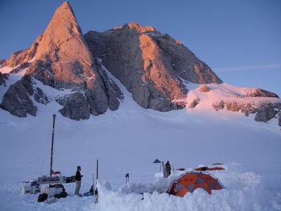 Researchers camping in the snow