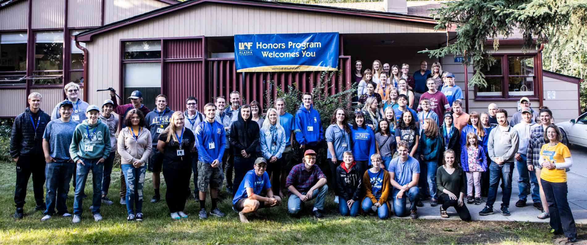UAF Honors Students group photo in front of the Honors House