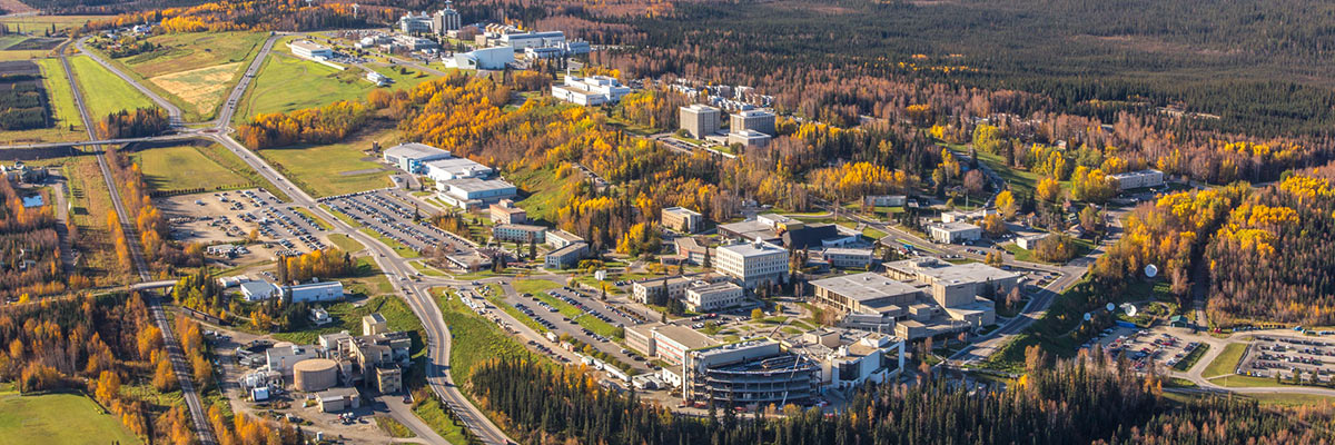Aerial view of the UAF campus