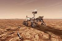 Artist's rendition of the Perseverance rover on the surface of Mars.