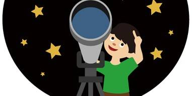 Drawing of a child looking up at the stars, holding a telescope.