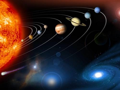 Artist's rendition of the Solar System, showing the sun, planets, asteroids, and comets.