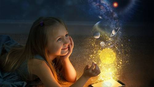 A whimsical artist's view of a girl dreaming of space exploration.