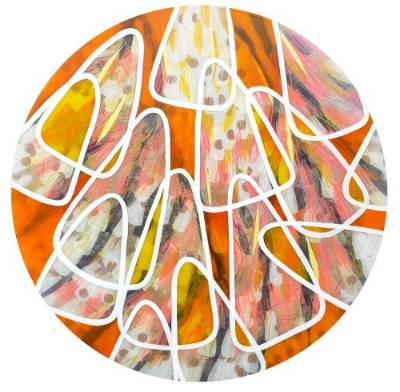 Circular painting of close-up butterfly wings, in orange and white.