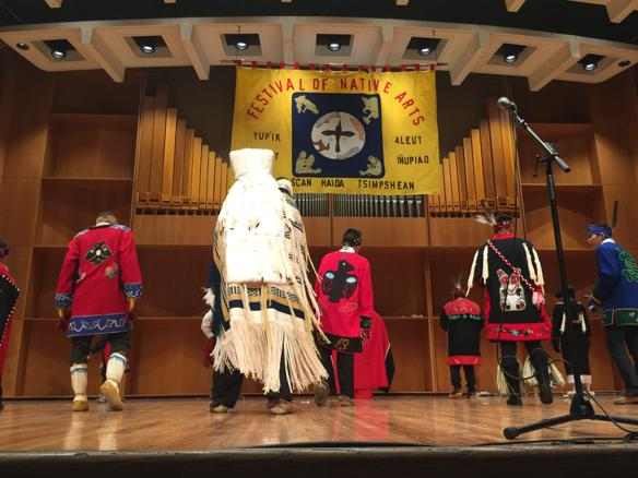 "The Raven's Tail robe created by Teri Rofkar for the University of Alaska Museum of the North was ""danced"" at the UAF Festival of Native Arts in March 2015. Photo by Allison Akootchook Warden"