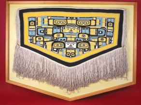 The traditional formline designs of Northwest Coast cultures can be seen in this Chilkat robe from the UA Museum of the North's collections. UAMN photo