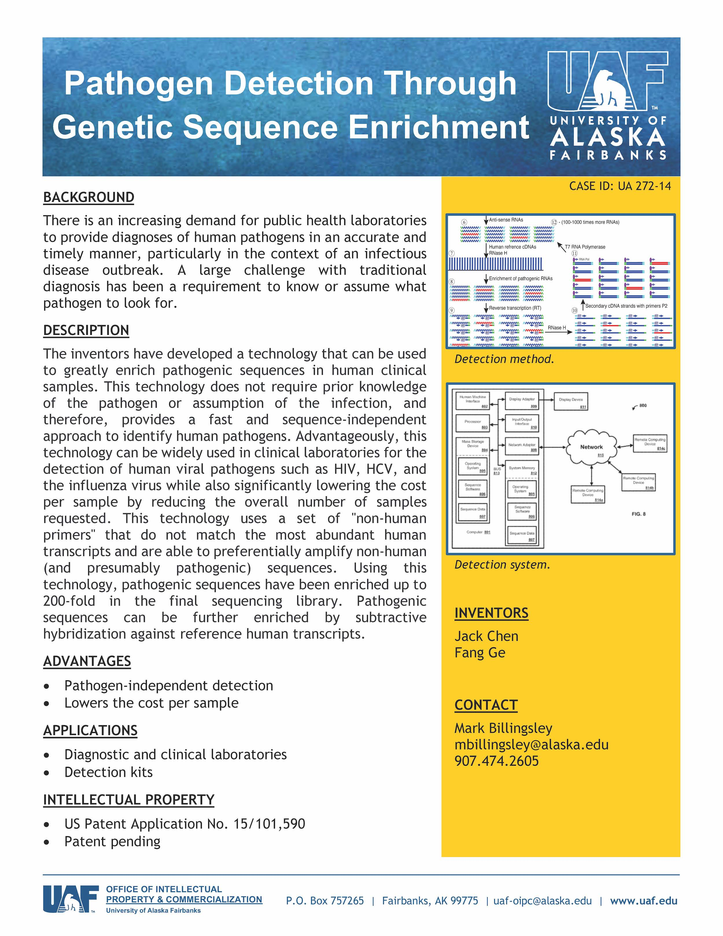 UAF Technology - Pathogen Detection Through Genetic Sequence Enrichment
