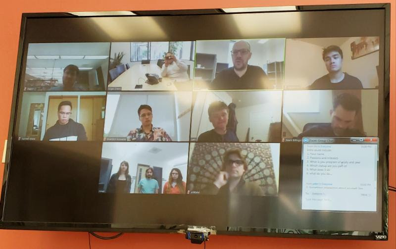 Screenshot of the first cohort of Student2Startups interns meeting via an online coffee break chat. Photo by Erik Talvi.