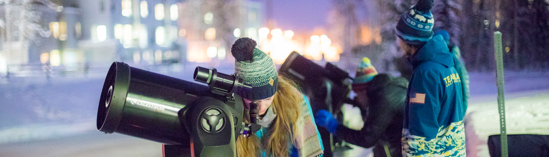 Students with telescopes