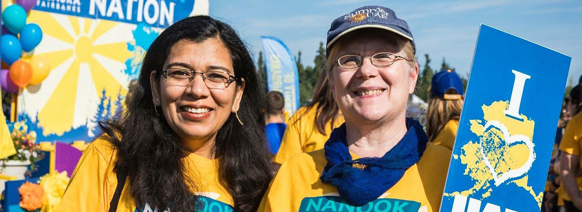 Provost Anupma Prakash with former Provost Susan Hendricks participating in the Golden Days Parade.