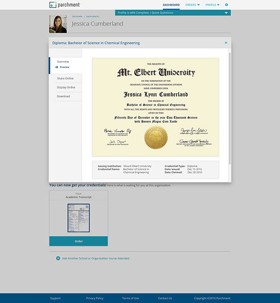 Consumer view of the Parchment digital diploma portal