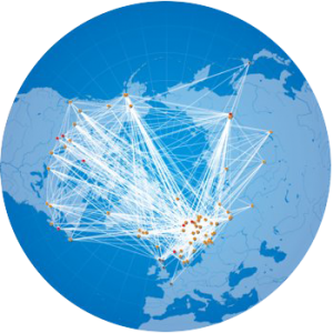 Glob with dots interconnected by lines to illustrate the UArctic network