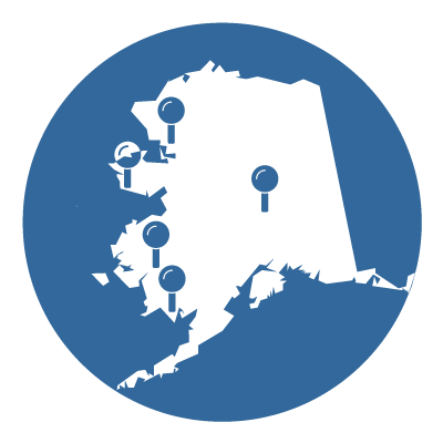 Map of Alaska with pins at community campus locations