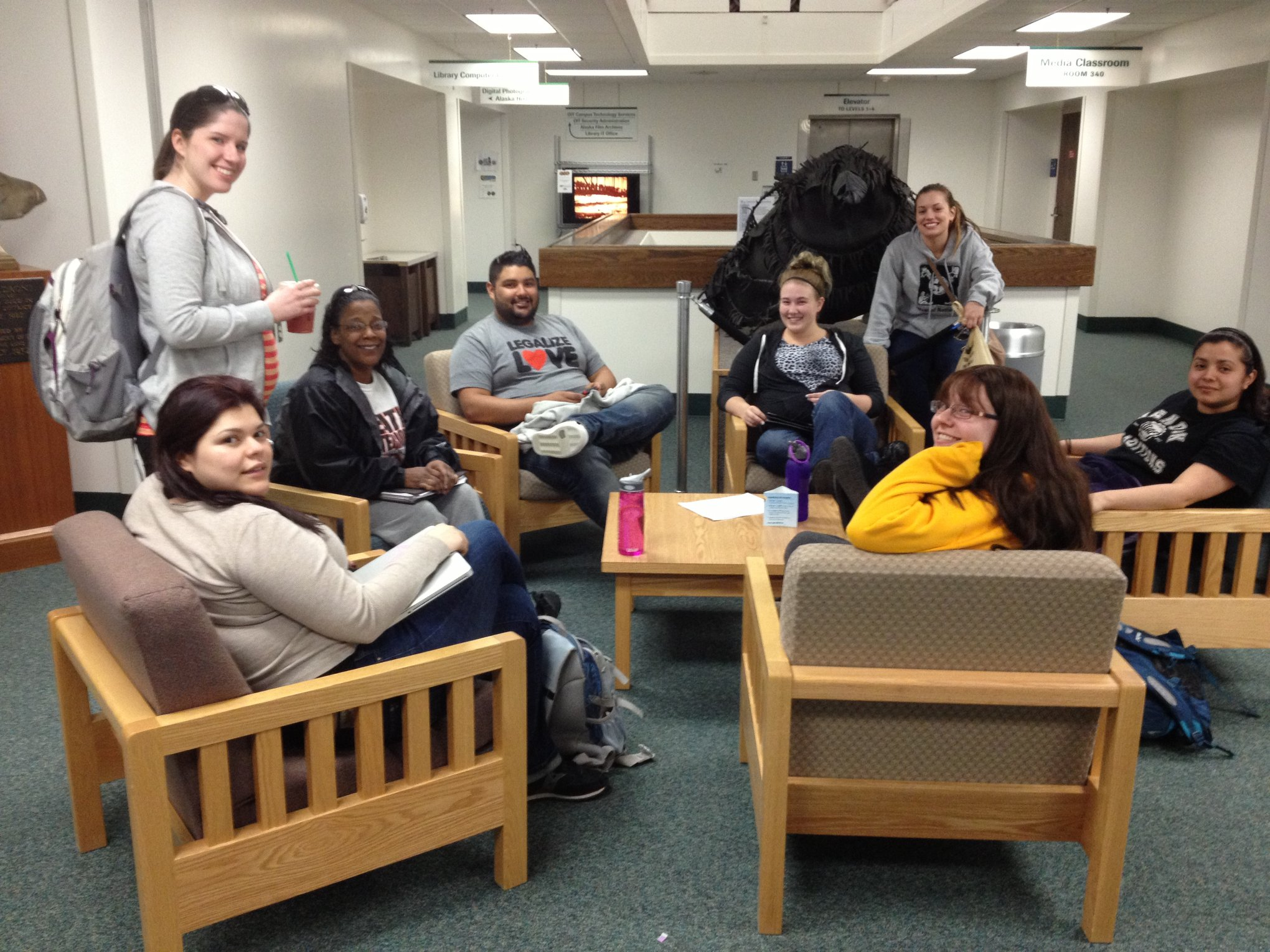 Social Work Students study in the library