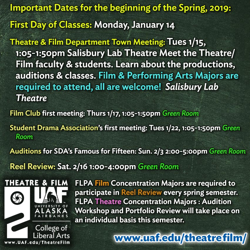 Important Dates, Spring 2019