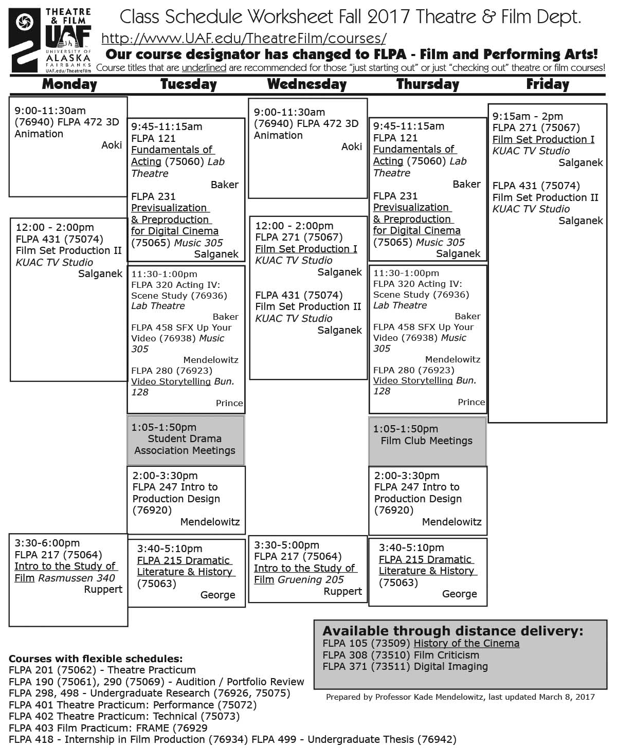Fall 2017 Course worksheet