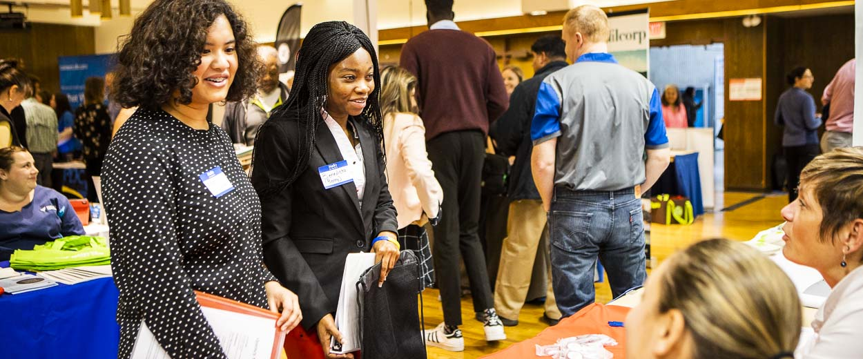Students network with potential employers at the UAF Career Fair in Wood Center