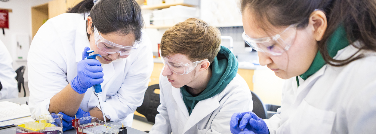UAF students with white lab coats, safety goggles, gloves and pipettes in a research lab