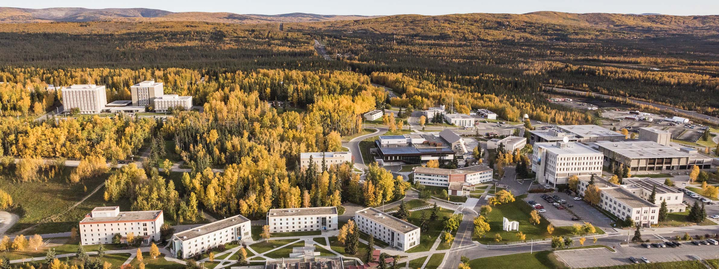 Fall aerial view of the Fairbanks campus