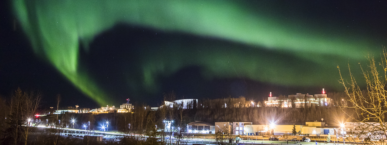 View of the Aurora over the Fairbanks campus