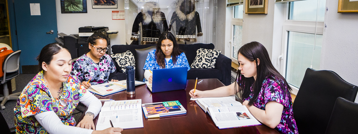 UAF allied health students studying together at a community campus