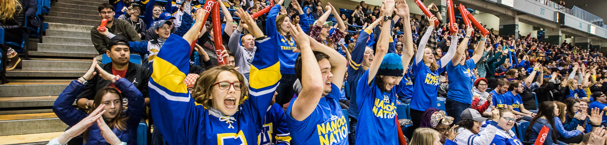 Alaska Nanooks supporters attend a UAF hockey game at the Carlson Center in Fairbanks