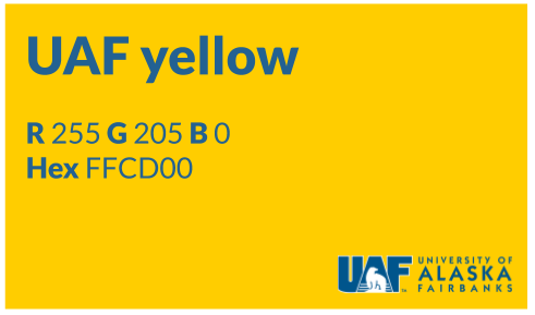 UAF digital signage sample with gold background and blue text