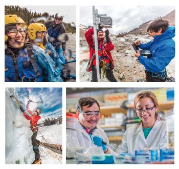 Photo collage of students rafting, ice climbing, and conducting research in a lab and in the field